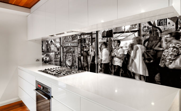 Monochromatic kitchen featuring VR Art - Melbourne Mono # 8