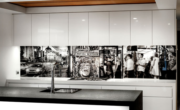 VR Art Glass Melb Mono Art Langwarrin kitchen front