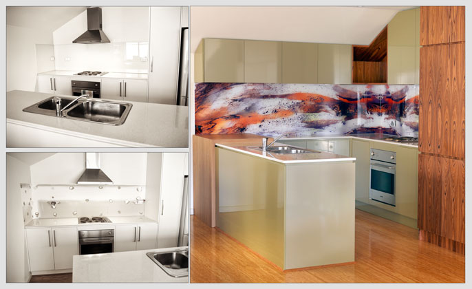 Before & After VR Art Glass Splashback