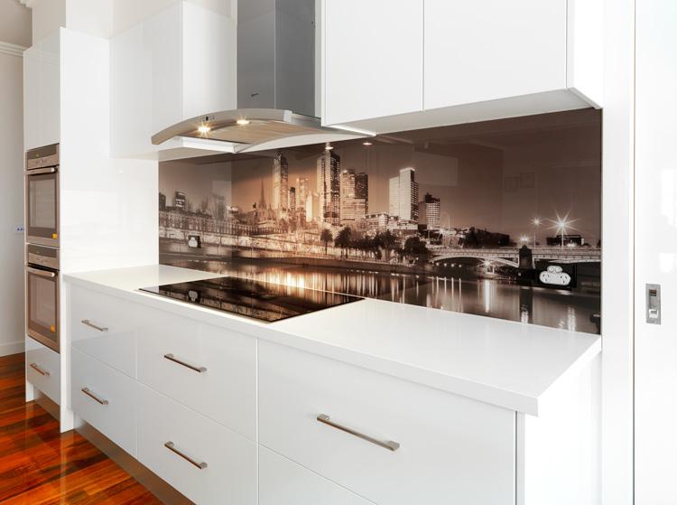Visual Resource printed VR Art Glass splashback Melbourne skyline image toned