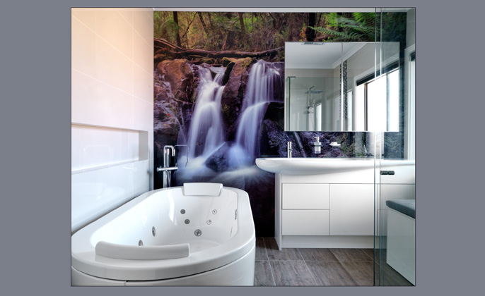 VR Art Glass Bathroom Wall Mural Feature Upstairs