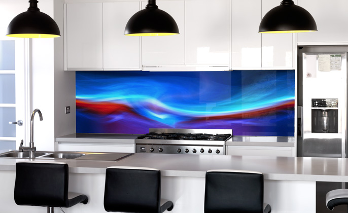 Kitchen Splashback VR ArtGlass FIRE & ICE artwork by Visual Resource