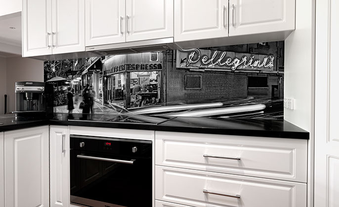 VRArtGlass printed glass splashback MELBOURNE photo art by Michael Collins PELLEGRINIS