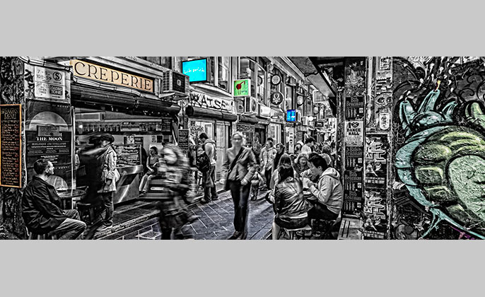 Vrartglass wall art melbourne centre lane photo artwork by michael collins