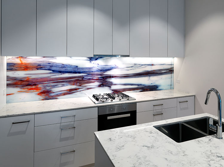 Printed On Glass Splashback Vr Art Glass Natural Stone
