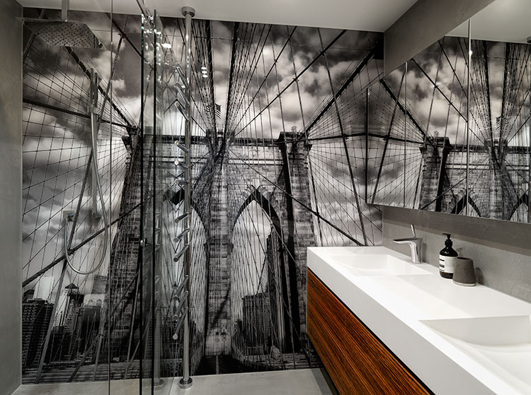 VR ART GLASS printed glass bathroom splashback wall design New York image