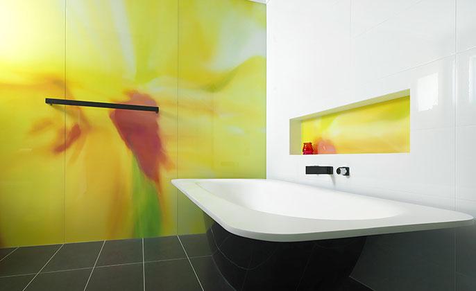 VR ART GLASS Printed Glass by Visual Resource ensuite bath COLOUR SPLASH 7