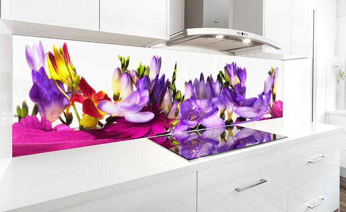 VR Art Glass BLOOMING BANQUET 01 Kitchen Splashback Limited Edition Art