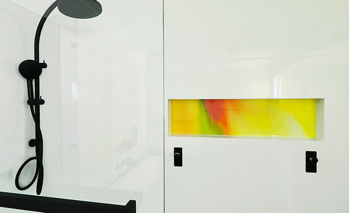 VR Art Glass Printed Glass by Visual Resource ensuite niche in Shower COLOUR SPLASH 7