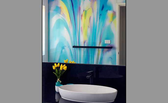 VR Art Glass Printed Glass by Visual Resource for Bathrooms PAINTERLY 14 Cameo Shot