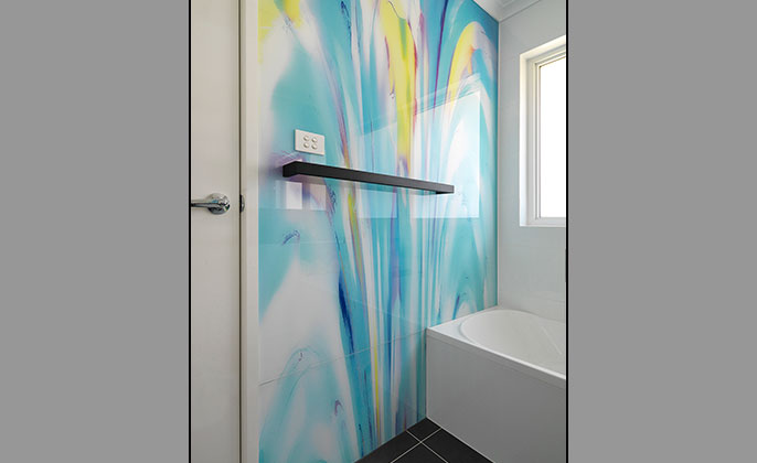 VR Art Glass Printed Glass for Bathrooms by Visual Resource art PAINTERLY 14 upright