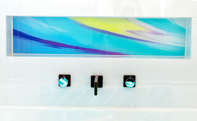 VR Art Glass Printed Glass for Bathrooms niche above the bath PAINTERLY 14