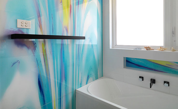 VR ArtGlass Printed Glass for bathrooms PAINTERLY 14 wide