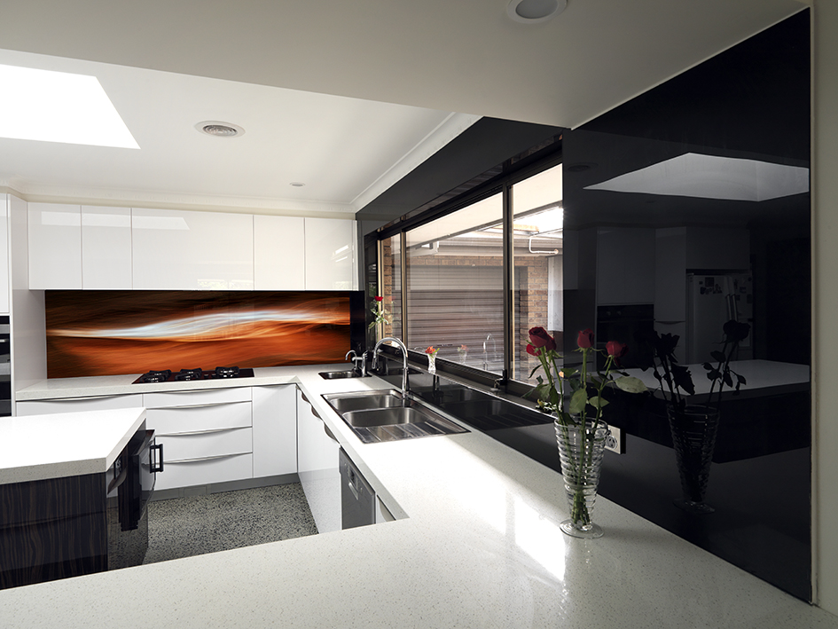 VR ArtGlass printed glass kitchen splashback artwork by Visual Resource Melbourne CHARCOAL 1