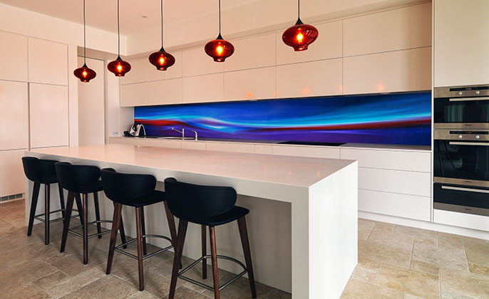 VR Art Glass printed glass kitchen splashback featuring FIRE & ICE by Visual Resource 2