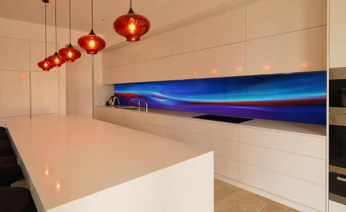 VR Art Glass printed glass splashback kitchen featuring FIRE & ICE by Michael Collins for Visual Resource 4
