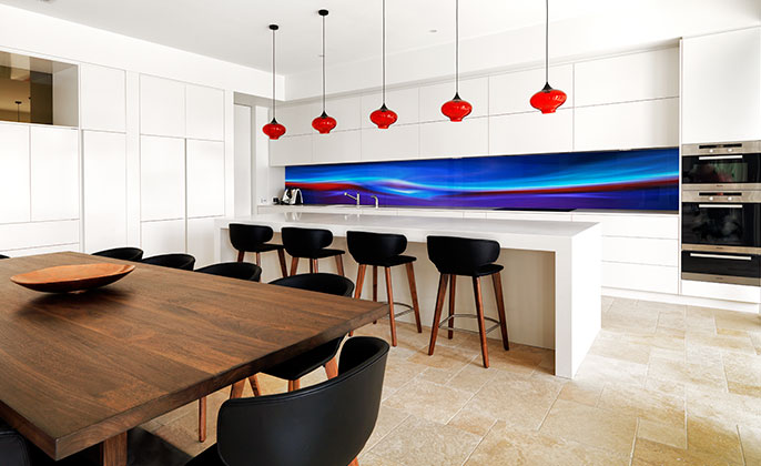 VR Art Glass printed kitchen splashback featuring FIRE & ICE by Visual Resource 3