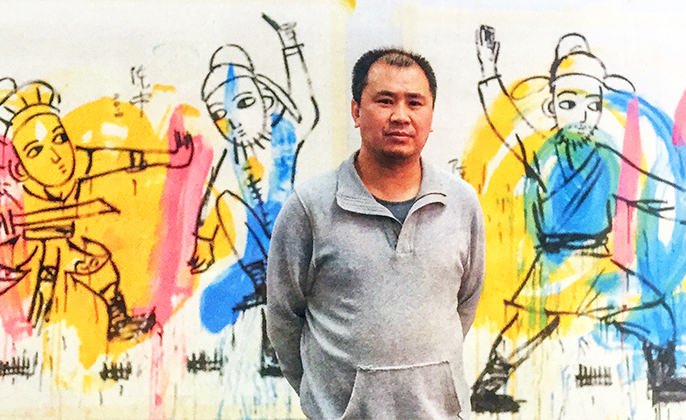 Artist Picture of CHEN ZHONG in front of his art