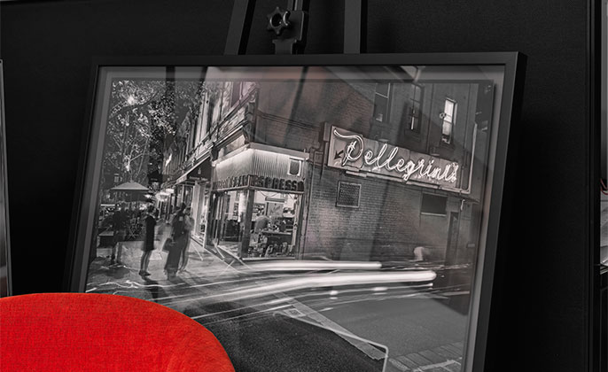 Pellegrinis photo Art by Michael Collins framed black and white photographic paper print