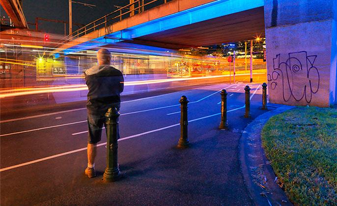 Photographer Michael Collins Self Portrait Creating Melbourne Skyline Night Shots