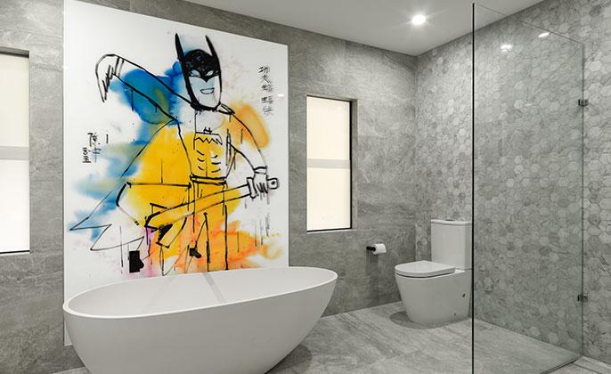 VR Art Glass printed glass by VISUAL RESOURCE Original Art by CHEN ZHONG Batman behind bath 2