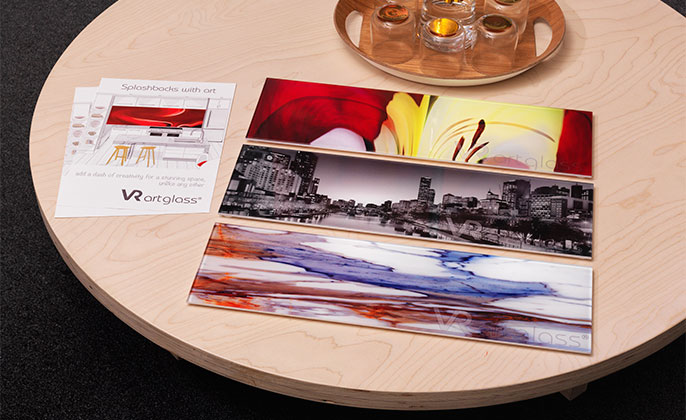 VR ArtGlass samples at Visual Resource SHOWROOM printed glass with photo artworks by M Collins