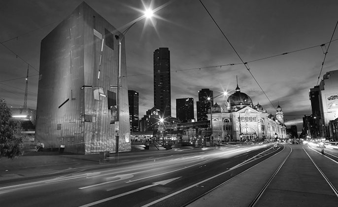 07 melbourne mono photographic image by Michael Collins for Visual Resource.  Black & White Photography