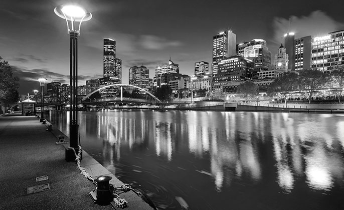21 melbourne mono photographic image by Michael Collins for Visual Resource.  Black & White Photography