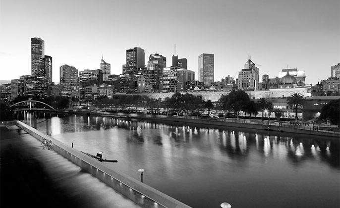 22 melbourne mono photographic image by Michael Collins for Visual Resource.  Black & White Photography.