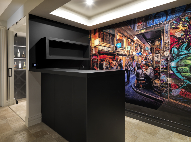 Melbourne street art photography bar design with feature VR Art Glass printed wall by Visual Resource