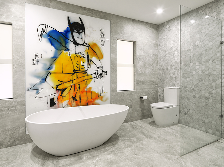 VR Art Glass printed glass bathroom design Melbourne art by CHEN ZHONG