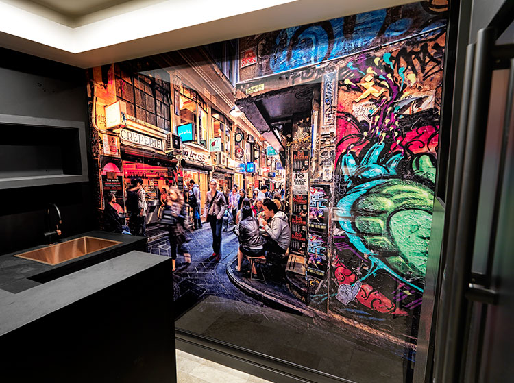 VR Art Glass CENTRE LANE Melbourne Photography Wall Art by Michael Collins for Visual Resource