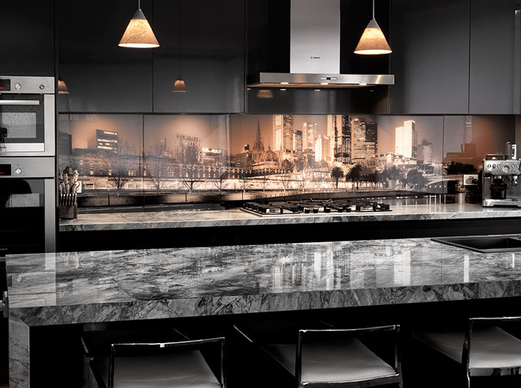 kitchen glass designs printed glass splashback kitchen melbourne skyline vr 1768